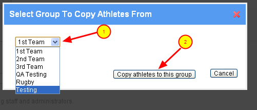 4. Select the Group of Athletes that you want to add to the existing group