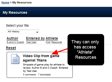 When the athlete logs in, the only Resources stored in the Athlete Category are available