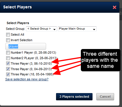Previously, if you had three players with exactly the same First and Last Name, reports would not run for them