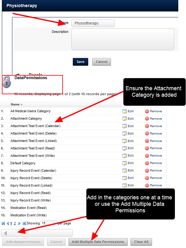 In the Data Permissions, assign access to the specific category that you require