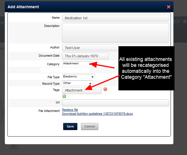 "When you open an existing Event Form Attachment it will be categorised into the ""Attachment"" Category."