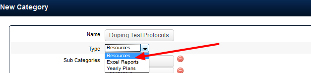 "You MUST select ""Resources"" for the Type.  The Excel Reports and Yearly Plans Categories are not functional yet"