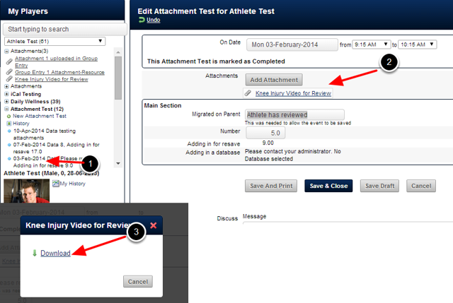 The athlete can open the Event Form, download the Attachment and enter in any relevant data into the Event Form
