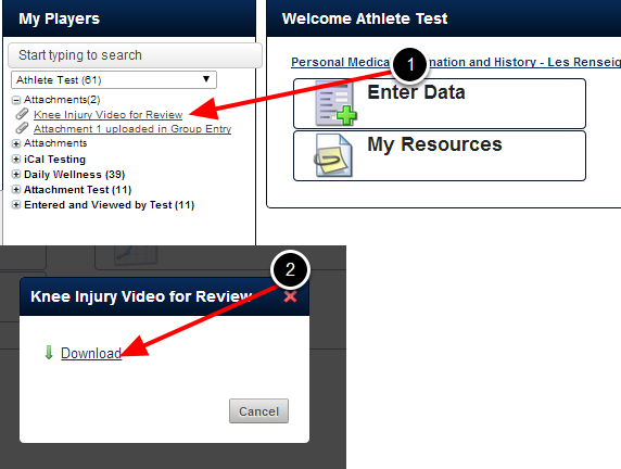 The athlete can download the attachment directly from the Sidebar