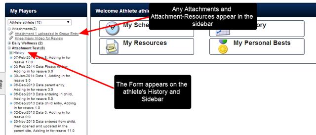 If the athlete has been given read/write access to the form, they will see this Entry in their Schedule, Sidebar, History etc. If they also have access to the
