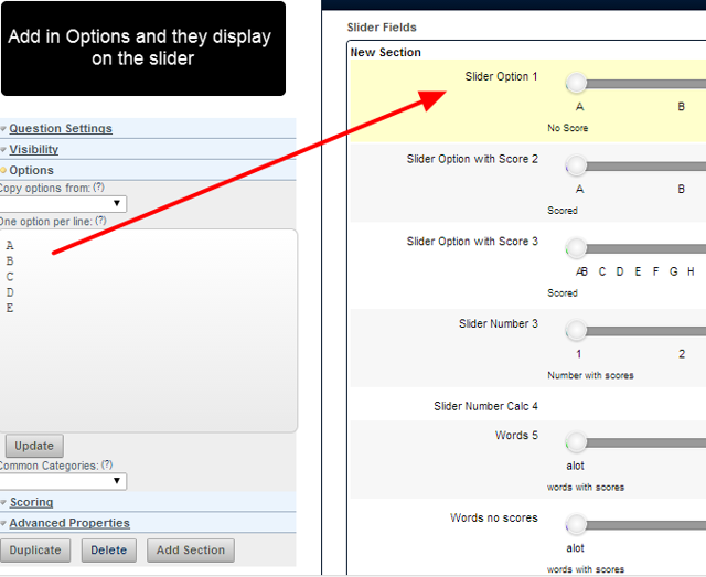 Slider fields are set up with almost identical field properties as single selection and drop down fields types.
