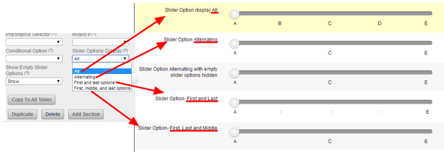 "Choose if all, or only some, of the options are displayed on the Slider by using the ""Slider Options Display"" Advanced Field Property"