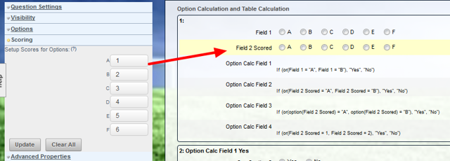 """Field 2 Scored"" is set up with a Score for each Option. As soon as you reference an option with a score in a calculation, it changes from being recognised from an option, to a number"