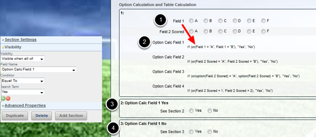 Field 1 is being referenced in an option calculation. This option calculation sets the visibility for sections 2 and 3.
