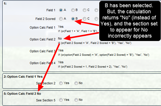 "WARNING: Because the field ""Option Calc Field 2"" is written to treat the options as an option (not as a score) this calculation will NEVER work"
