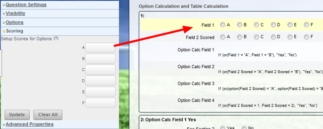 Field 1 is set up with an option with no scores. It will be treated as a normal option field, and any visibility setting based off it will work