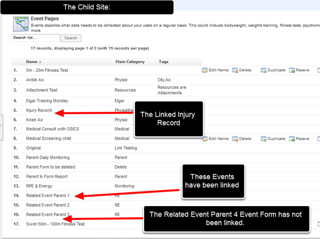Only Linked Event Forms will appear as related events in the Injury Form, any Event Forms NOT linked between the Parent and Child site, will not appear as Related Events
