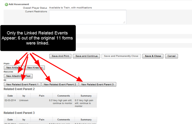 When the Event Form with Related Events is opened/entered in the Child site, only the accessible Related Events and Related Event Summaries appear