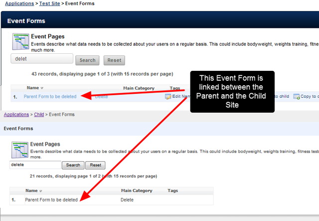 The image here shows that this Event Form is linked between the Parent and a Child Site
