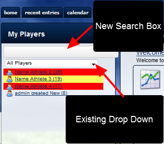 The new Athlete Search Box and the original Drop Down List both appear in the Sidebar