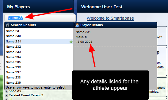 The New Search Bar enables users to type a part of the athletes' name into the search box and possible matches appear