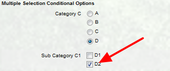 Different conditional multiple selection options appear depending on the option field selected