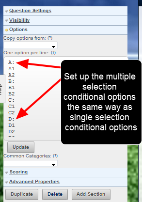 The conditional multiple selection options need to be set up in the same way as conditional  single selection options fields