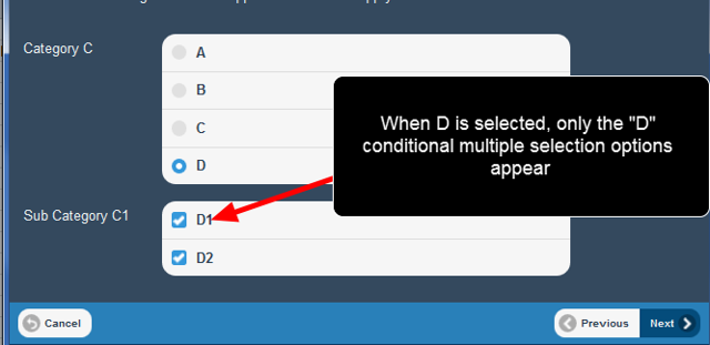 The conditional multiple selection options function in Mobile/iOS entry as well