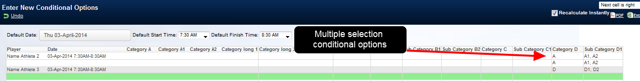 The conditional multiple selection options function in Group entry mode