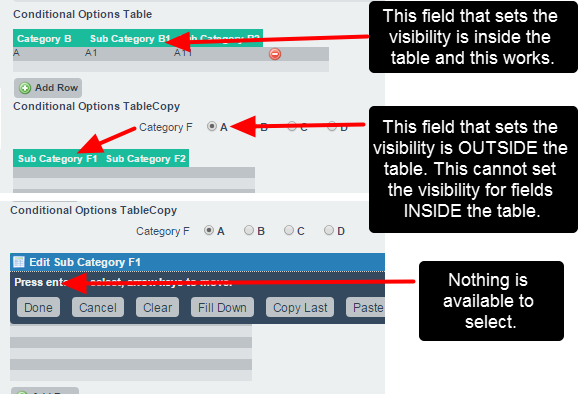 N.B. Table conditional options ONLY work when the option field sits within the table. The option cannot sit outside the table