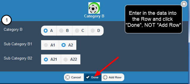 "This means users can click on a blank row, enter in the content and click ""Done"" when finished"
