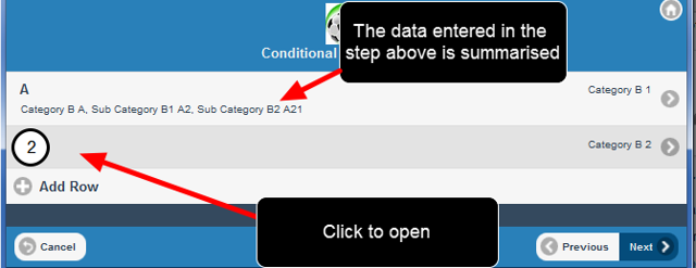 Users can then open the second blank row and enter in the appropriate data.