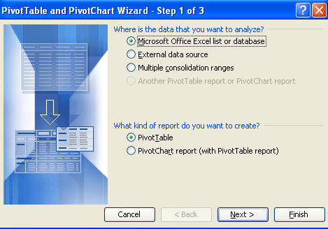 Select PivotTable and Next