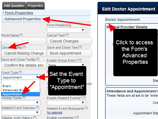 The Form needs to be set up as an Appointment Form in the Form's Advanced Properties