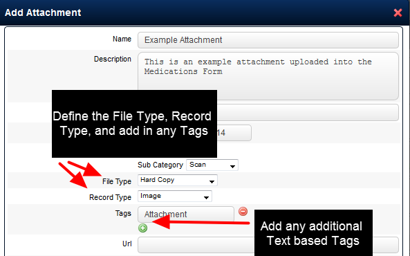 You can then specify the File type, Record type and additional Tags