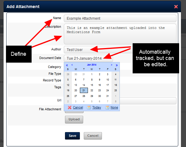 "If your Add Attachment pop up box looks like this, then Name the attachment and add in a description. The ""Author"" is automatically recorded as you, and the Document Date default to today's date"