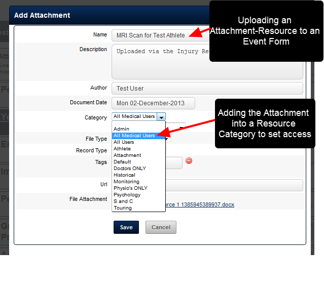 Event Forms set up with Attachments as Resources are now defined and accessible using the same properties as a Resources in the My Resources Module