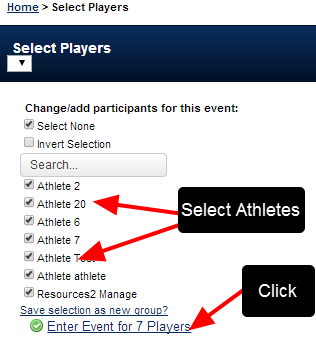 Select the athletes you want to enter in the new data for