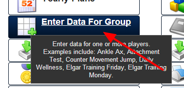 To enter in Data and an Attachment for a group of athletes, click on the Enter Data For Group Button