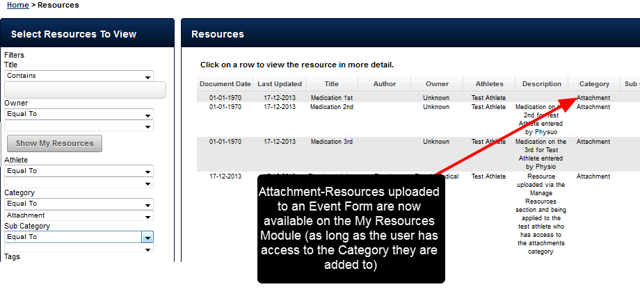 Additionally, any attachments added into a Category that a user can access are now also available and searchable through the My Resources Module