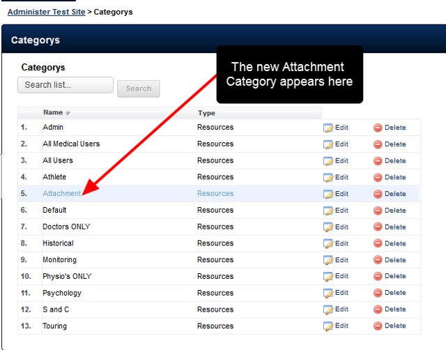 """The new """"Attachment"""" Category will automatically appear in this list"""