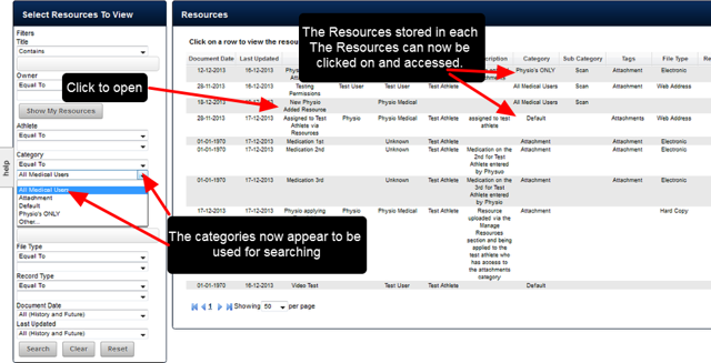 Once a Role is updated, the Users in that Role can then access all Resources stored within each Category