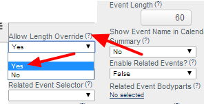 Allow Length Override enables the event length to be longer or shorter than the Default Event Length