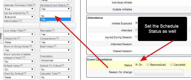 "You MUST also set the Field's Advanced Properties to ""Denotes Schedule Status""=Yes"