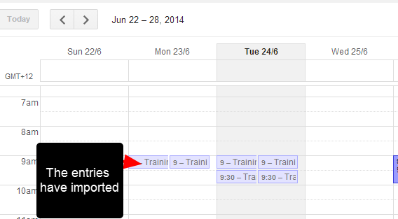 The scheduled entries will now appear in the calendar