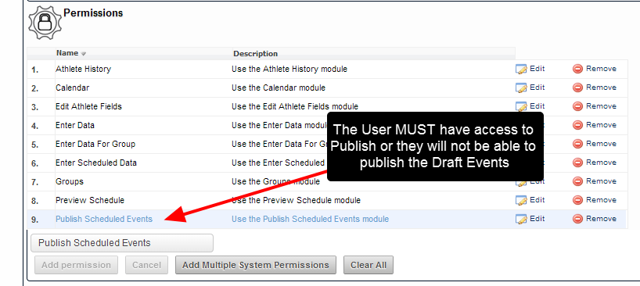 "N.B. Only User with access to the ""Publish"" System Permission will be able to Publish Multiple Events in the Preview Schedule Module"