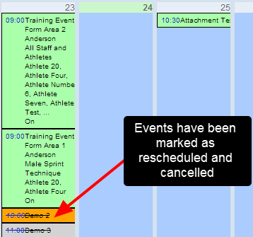 N.B. Some organisation may just want to change the time and not notify users. Make sure you have a clear organisational workflows to ensure you cancel or reschedule events appropriately.