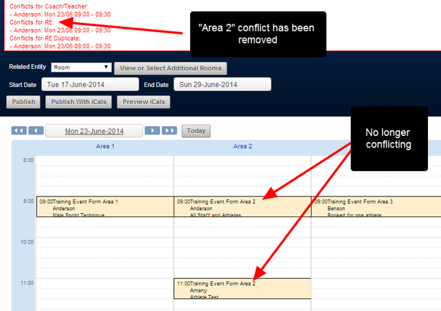Once the events no longer conflict, the events are no longer red and the conflict is removed