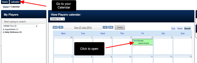 To Cancel an Appointment, go to your Calendar and open the Event from the Calendar by clicking on it