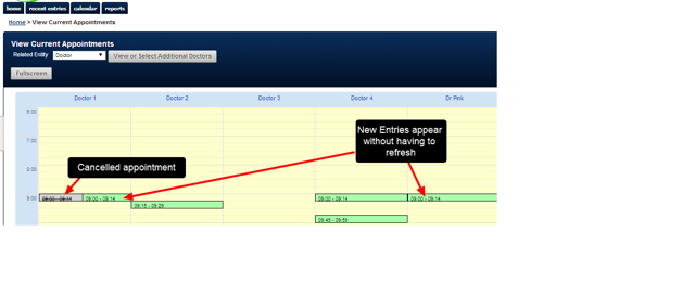The Current Appointment view will update when new entries are added to the system, or when existing entries change