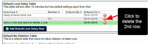 Newly entered Table rows can be deleted. Please note that once the Event Form is saved, table rows cannot be deleted
