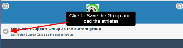 Click on the group to save it and load the athletes