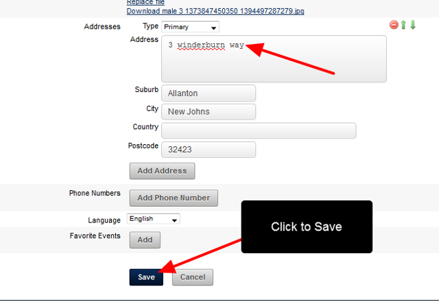 Make any changes and Save the changes. For example, a Primary Address has been added.