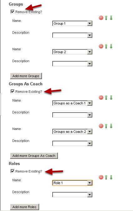 "Map the new Groups, Groups as a Coach and Roles over correctly. Tick the ""Remove Existing?"" box if you want to remove the existing groups/roles or groups as a coach that the users are currently in."
