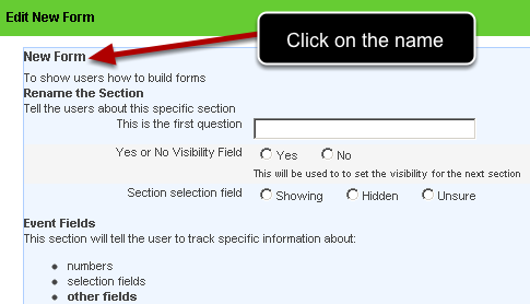Click on the Form Name on the left of the page and the page will be highlighted blue.The Form Properties will appear on the right (as shown in the image in the step below)